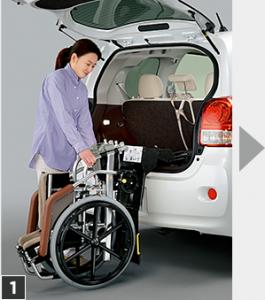 トヨタポルテ、車いす収納リフト付き福祉車両、操作手順1