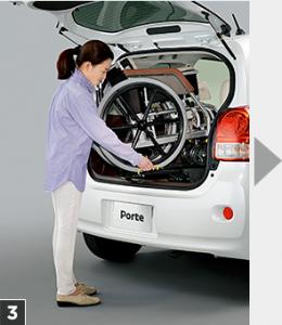 トヨタポルテ、車いす収納リフト付き福祉車両、操作手順3